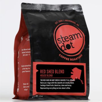 Black coffee bag with steamdot logo and Red Shed label displayed